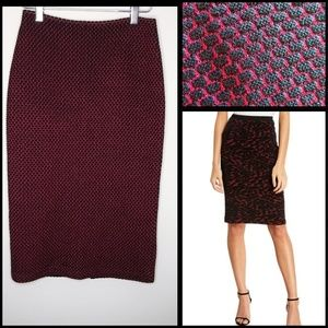 ST. JOHN RED & BLACK SQUARE KNIT PENCIL SKIRT 0